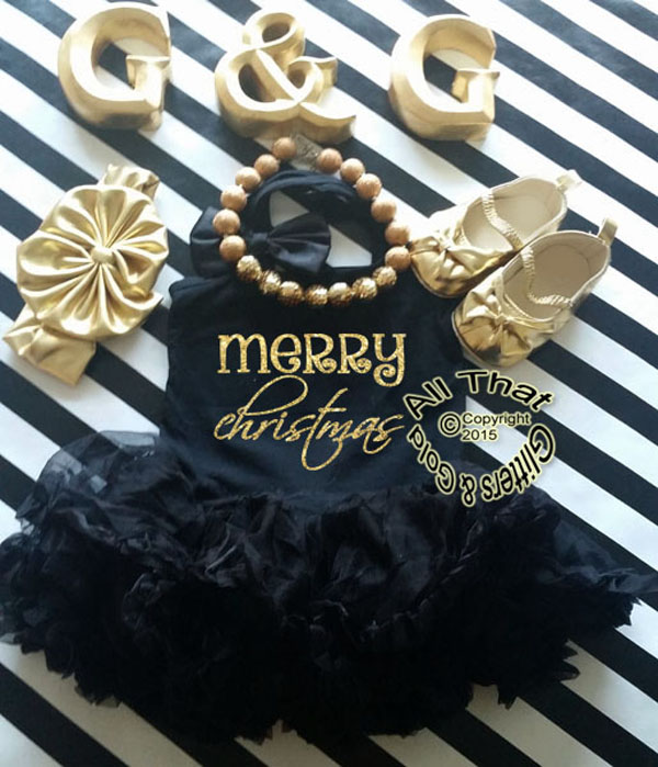 Black and Gold Glitter Merry Christmas Tutu Dress For Little Girls