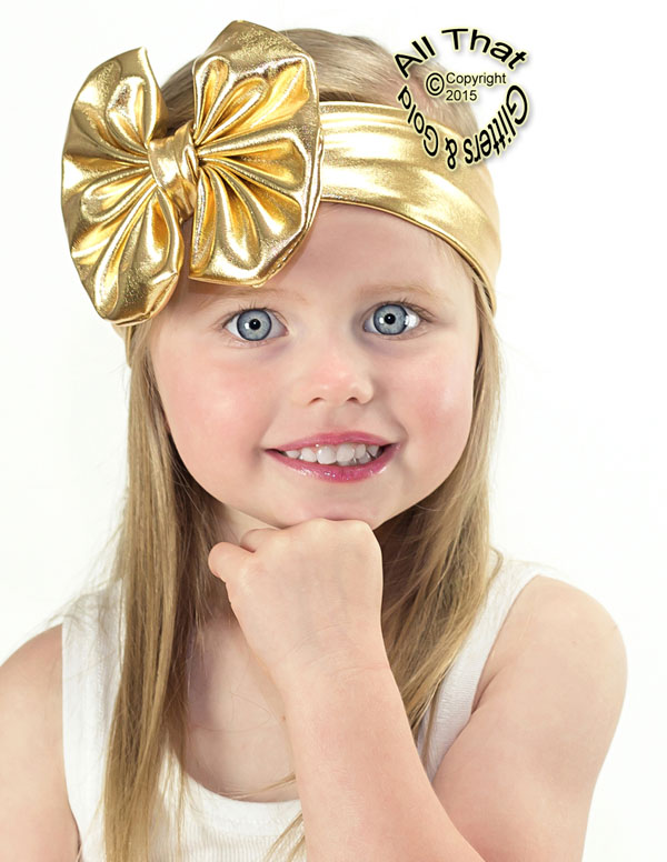 Baby and Little Girls Metallic Gold 4.5 Inch Big Bow Headbands
