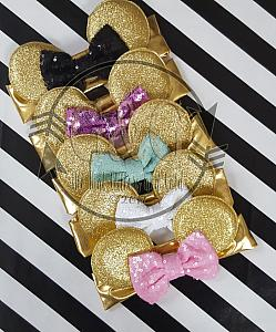 Gold Glitter Minnie Ears Baby and Little Girls Big Bow Headbands - Multiple Colors