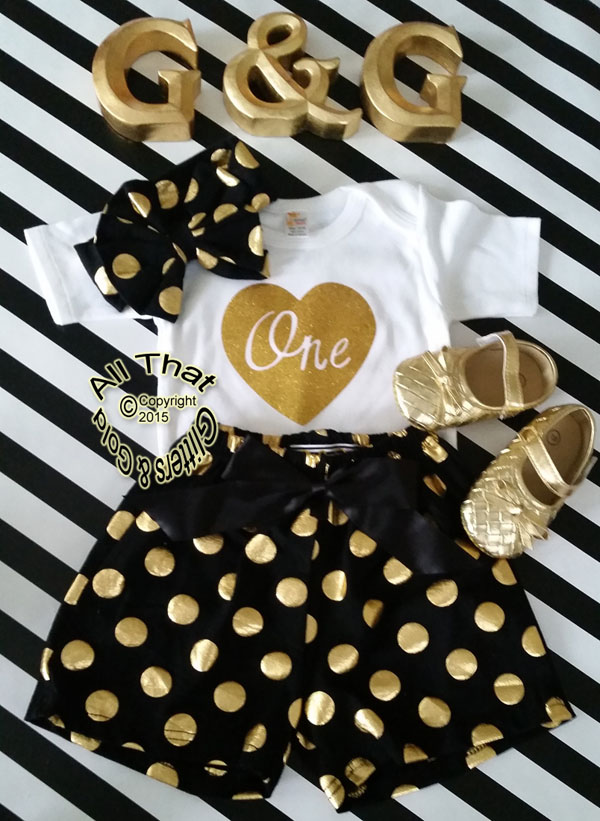 Black and Gold Polka Dot Baby Girl 1st Birthday Shorts Outfits