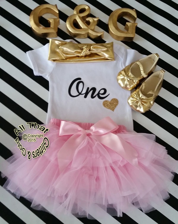 f0c43f50a4521 Cute Gold 1st Birthday Outfits - Pink and Black Glitter One First ...