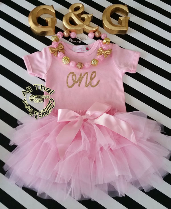 Pink Gold One 1st Birthday Outfit With Pink Tutu Skirt