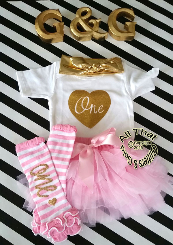 Pink and Gold One 1st Birthday Outfit With Pink Tutu Skirt