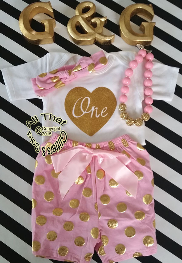 PInk and Gold Polka Dot Baby Girl 1st Birthday Shorts Outfits