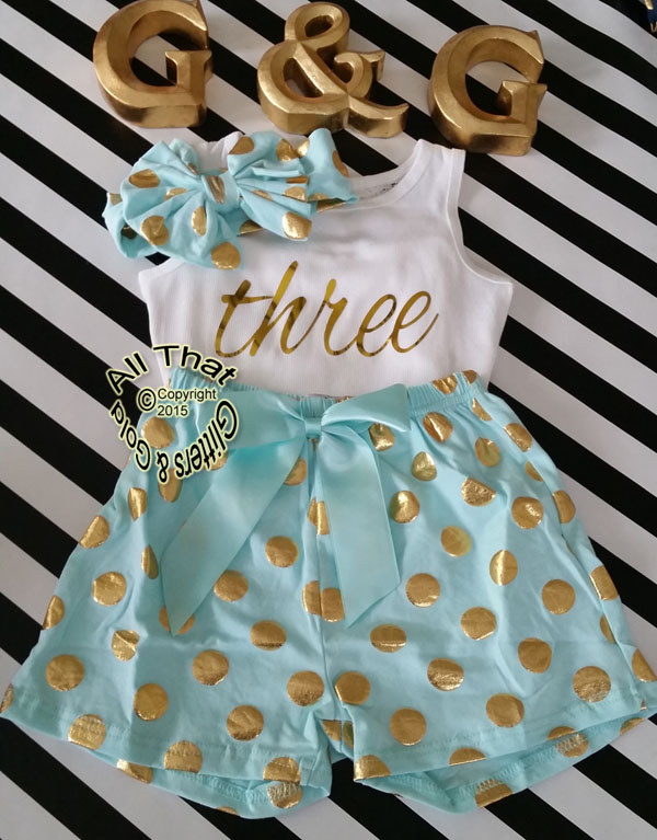 Mint and Gold Polka Dot 2nd 3rd 4th Girls Birthday Shorts Outfits
