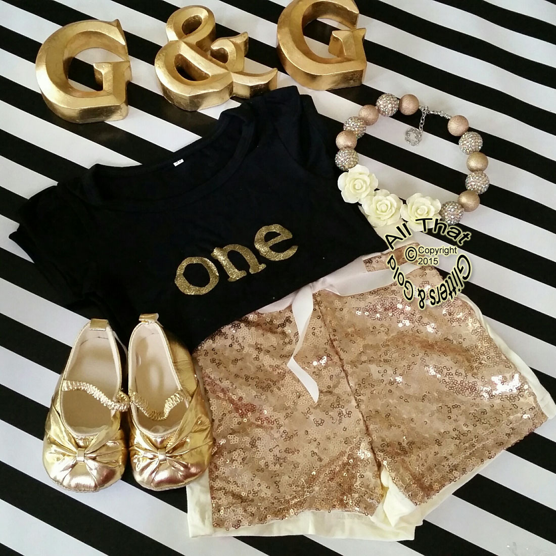 Black and Gold One 1st Birthday Outfit With Gold Sequin Shorts