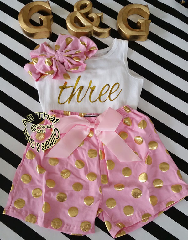 Pink and Gold Polka Dot 2nd 3rd 4th Girls Birthday Shorts Outfits