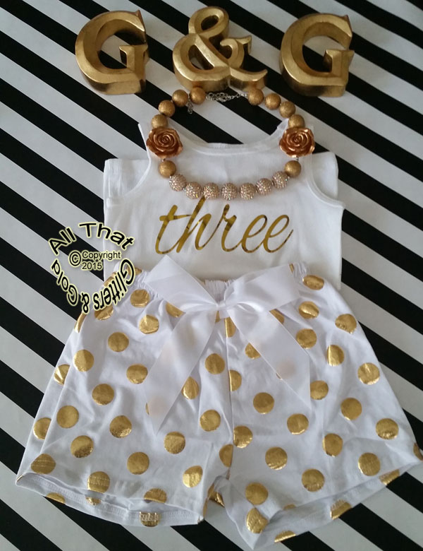 White and Gold Polka Dot 2nd 3rd 4th Girls Birthday Shorts Outfits