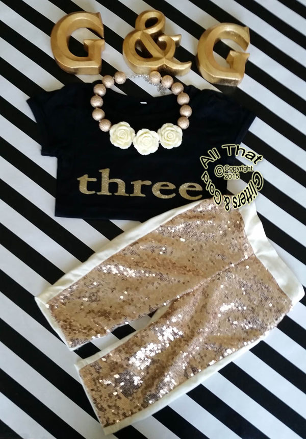 Gold Sequin Girls Birthday Pants Outfit With Black Shirt