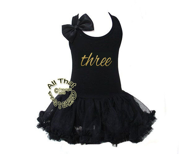 Black and Gold Cursive Glitter Three Birthday Girl Tutu Dress