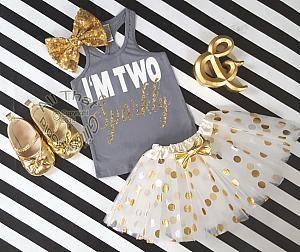 Grey and Gold I'm Two Sparkly TM Birthday Polka Dot Tutu Outfit