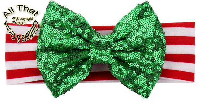 Baby and Little Girls Red White Green Striped Green Sequin 5 Inch Big Bow Christmas Headbands
