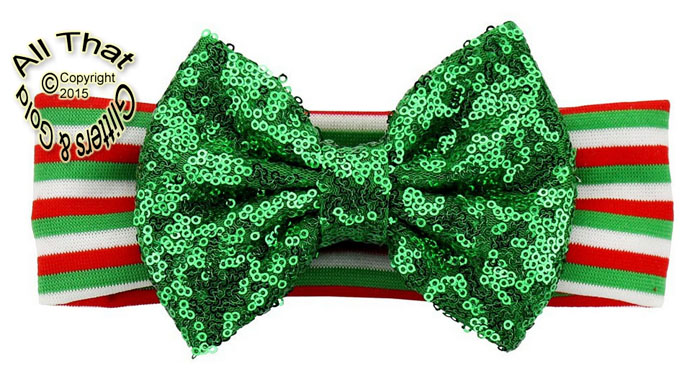 Baby and Little Girls Striped Green Sequin 5 Inch Big Bow Christmas Headbands