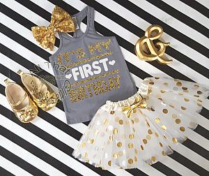Grey and Gold It's My First Birthday Polka Dot Tutu Outfit