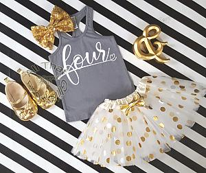Grey and Gold Glitter Polka Dot Birthday Tutu Outfit Age 1-6