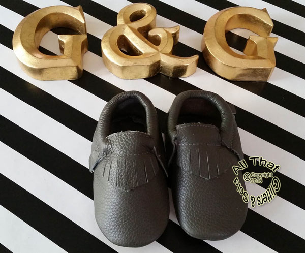 Leather Grey Soft Soled Baby Fringe  Moccasin Shoes