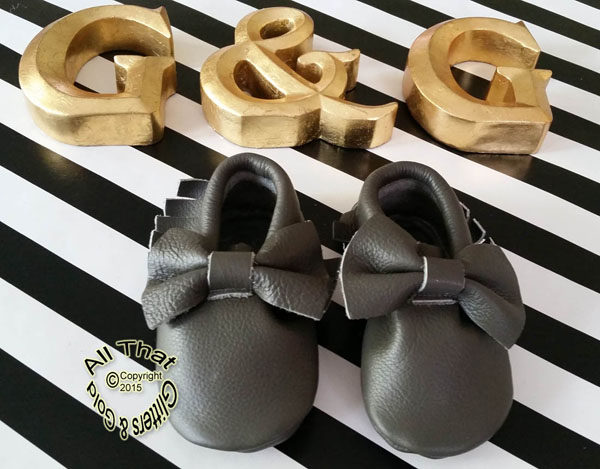 Leather Grey Soled Baby Moccasin Shoes With Bows