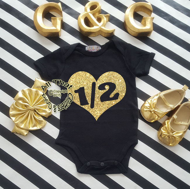 Black and Gold Glitter 1/2 Baby Girl Birthday Outfit