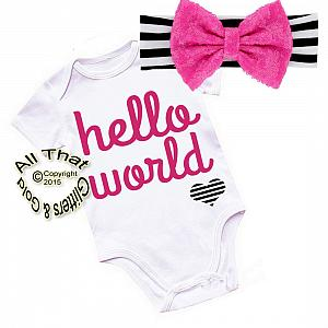 Black, Hot Pink and White Hello World Shirt or Outfit For Girls