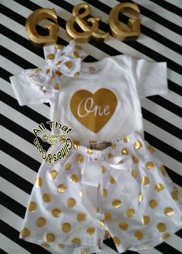 White and Gold Polka Dot Baby Girl 1st Birthday Shorts Outfits