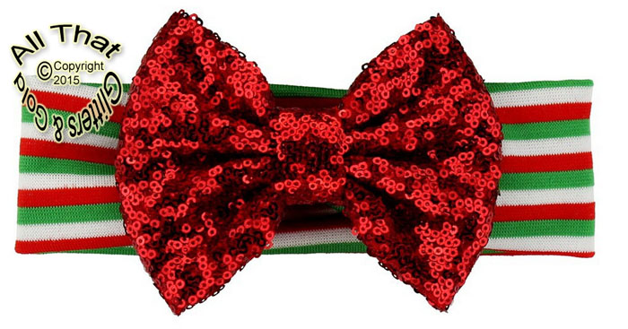 Baby and Little Girls Striped Red Sequin 5 Inch Big Bow Christmas Headbands