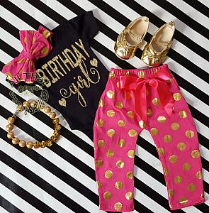 Hot Pink, Black and Gold Polka Dot One Year Old Birthday Girl Pants Outfits For Baby Girls