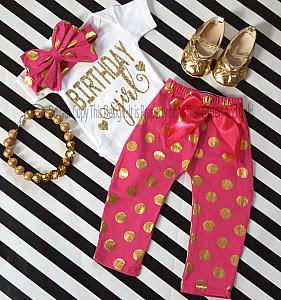 Hot Pink and Gold Polka Dot One Year Old Birthday Girl Pants Outfits For Baby Girls