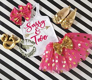 Hot Pink and Gold Sassy Birthday Age Birthday Polka Dot Birthday Tutu Outfit Ages 1-6