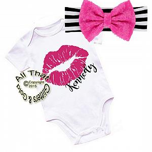 Personalized Black, Hot Pink and White Lips Shirt or Outfit For Girls