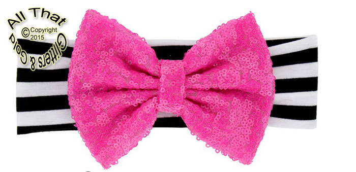Baby and Little Girls Black and White Striped Hot Pink Sequin 5 Inch Big Bow Headbands