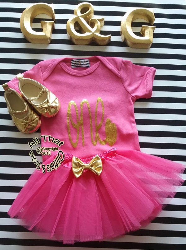 Hot Pink Gold One First Birthday Tutu Outfit