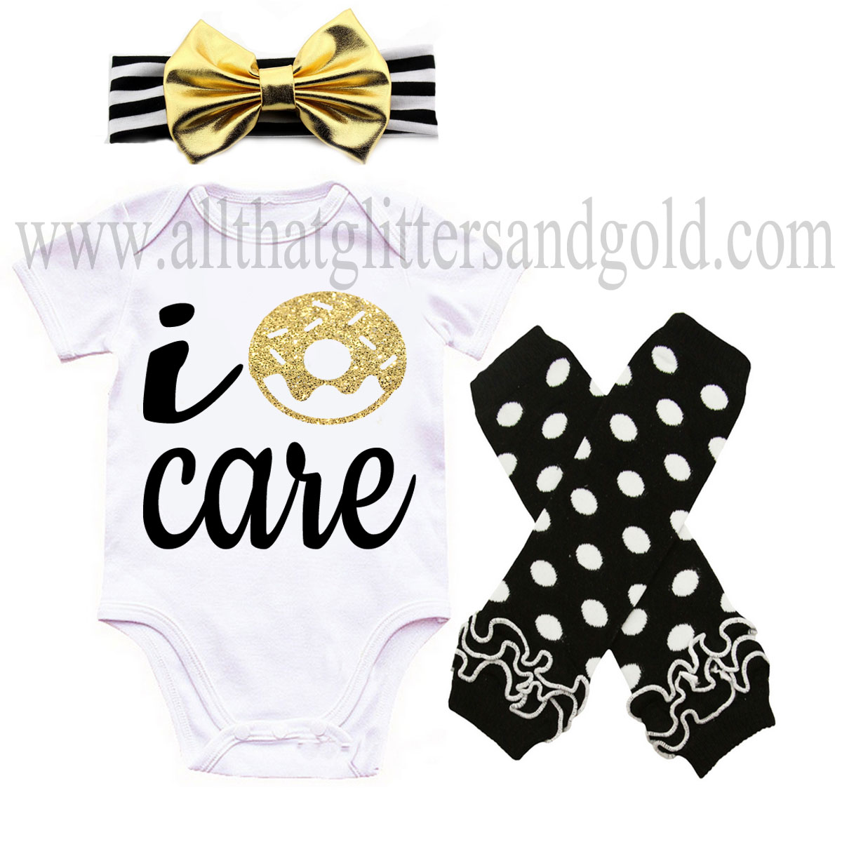 Black and Gold I Donut Care Baby Girl Outfit