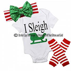 Glitter I Sleigh Handmade Christmas Outfit For Baby Girls and Little Girls