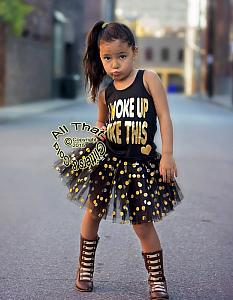 Black and Gold I Woke Up Like This Shirts For Toddler Girls