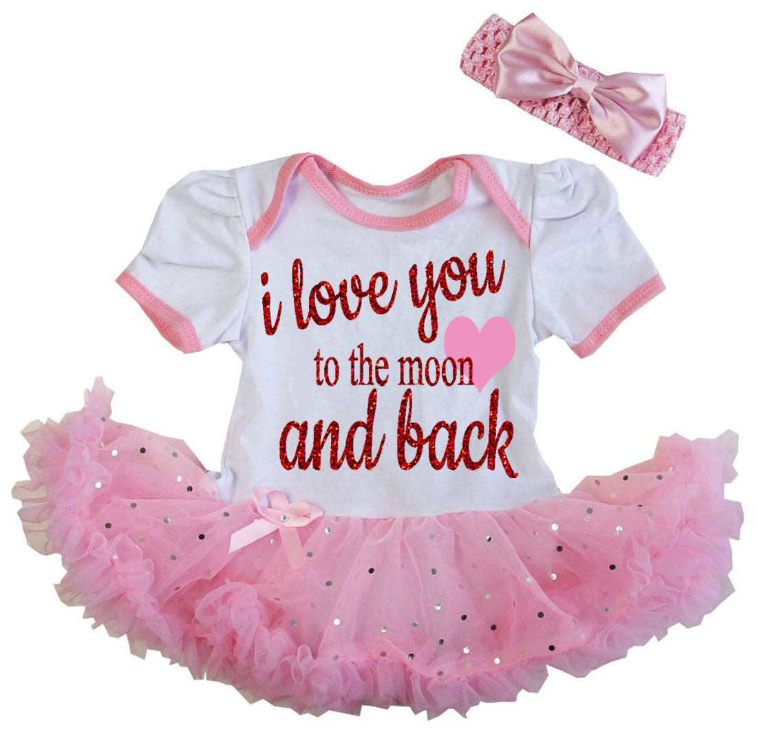 Cute 2 Piece Pink I Love You To The Moon Valentine's Day Glitter Baby Girl Tutu Dress Outfit