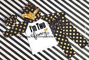 Black and Gold I'm Two Fancy Birthday Polka Dots Pants Outfit
