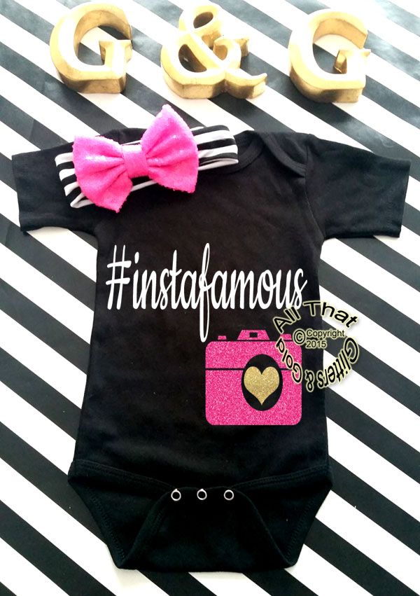 Black and Pink Glitter Instafamous Funny Baby Girl Onesies or Shirt