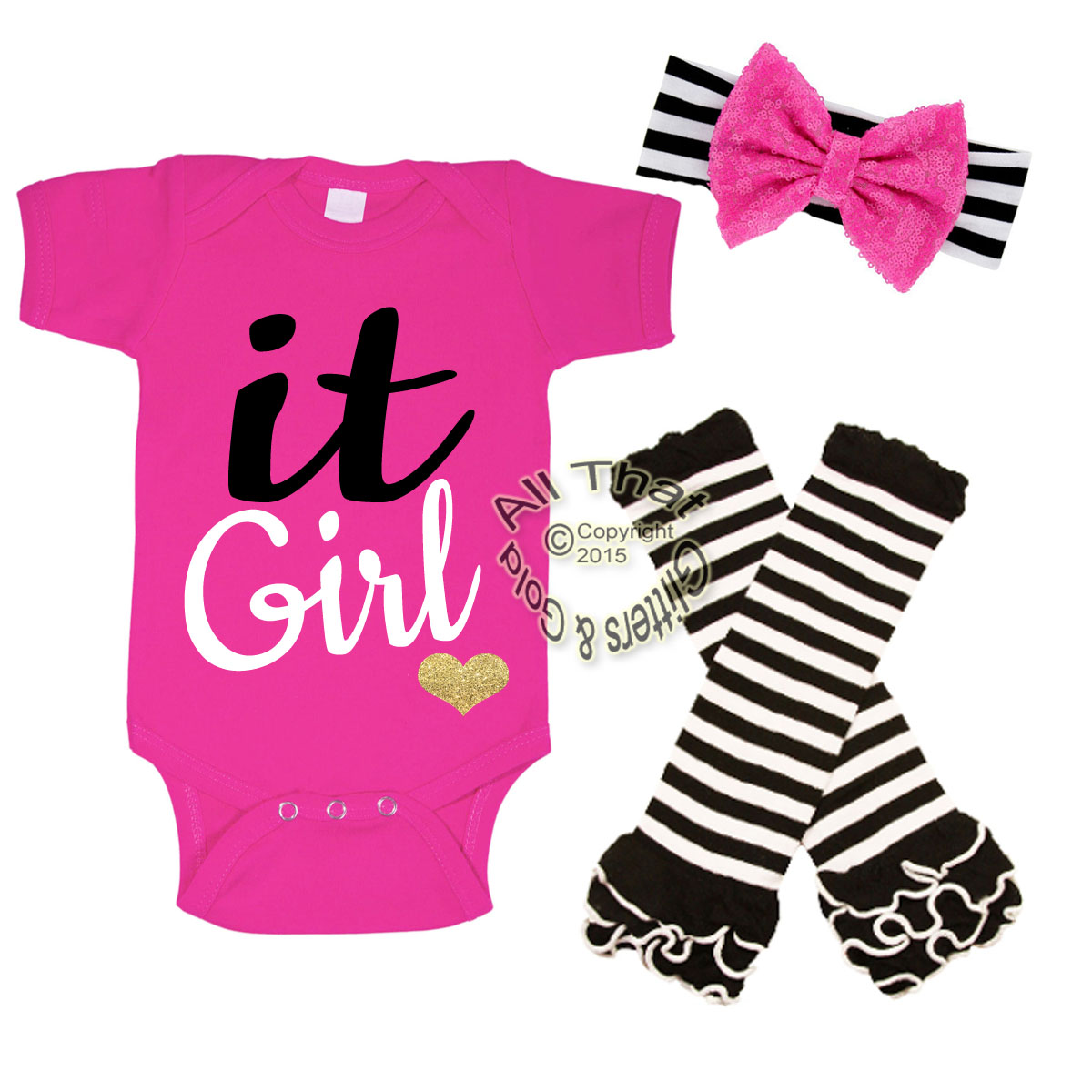 Pink, White and Black Glitter It Girl Baby Girl Outfit