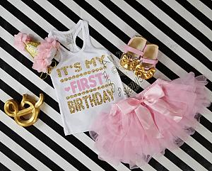 2bc4f77c34e78 1st Birthday Outfits - Cute Gold One - Girls First Birthday Tutu Outfits