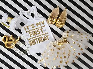 White and Gold It's My First Birthday Polka Dot Tutu Outfit