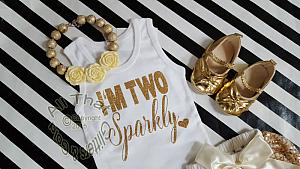 Ivory and Gold I'm Two Sparkly TM Outfit With Gold Sequin Pom Pom Bloomers