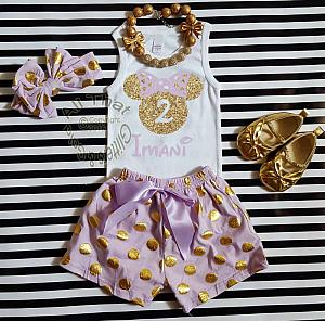 Personalized Lavender and Gold Minnie Birthday Shorts Outfits For Toddlers