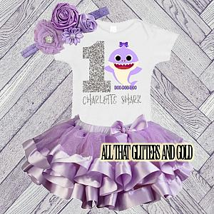 Personalized Lavender and Silver Glitter Baby Shark Birthday Tutu Outfit Ages 1-6