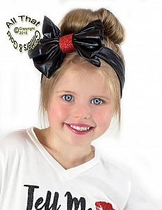 Black and Red Glitter and lFaux Leather Baby and Little Girls Big Bow Headbands