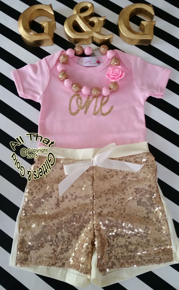 Pink and Gold One 1st Birthday Outfit With Gold Sequin Shorts