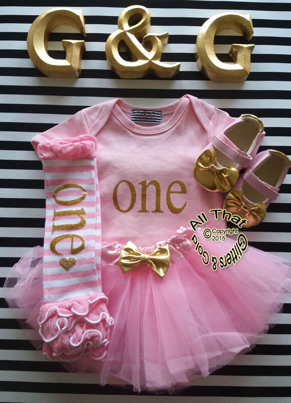 1a25796f3cdad Pink and Gold One First Birthday Outfit With Pink Tutu Skirt