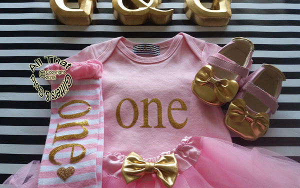 Pink Gold One First Birthday Outfit With Pink Tutu Skirt