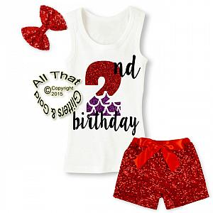 Red and Purple Mermaid Glitter 2nd Birthday Sequin Shorts Outfits