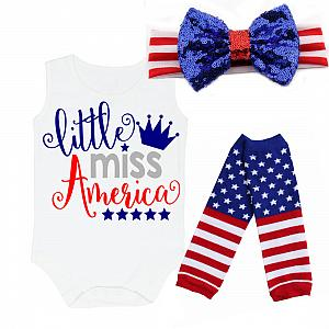 Little Miss America 4th of July Shirt or Outfit For Girls