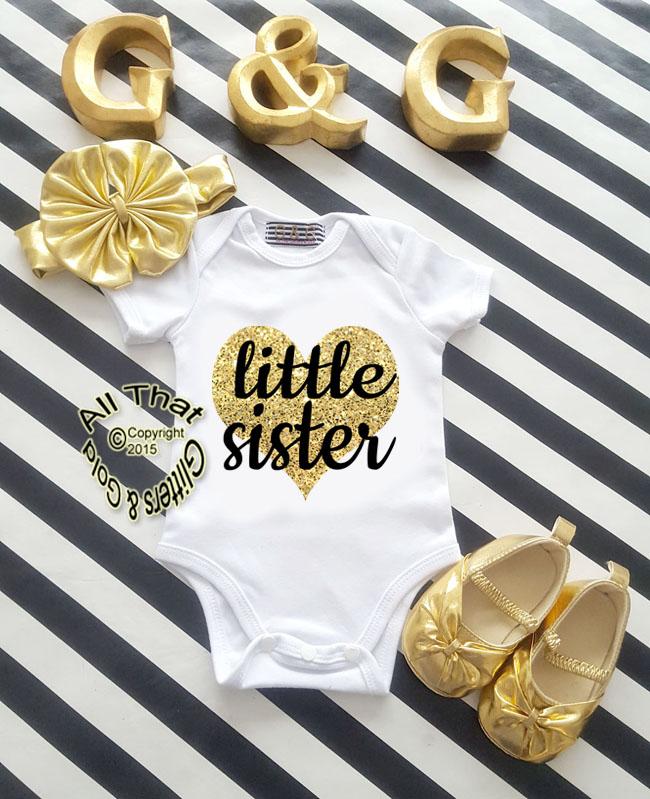 Black and Gold Glitter Little Sister Baby Girl Coming Home Outfit